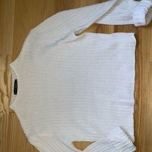 ZAFUL Mockneck Knit Cropped Sweater in White/Cream